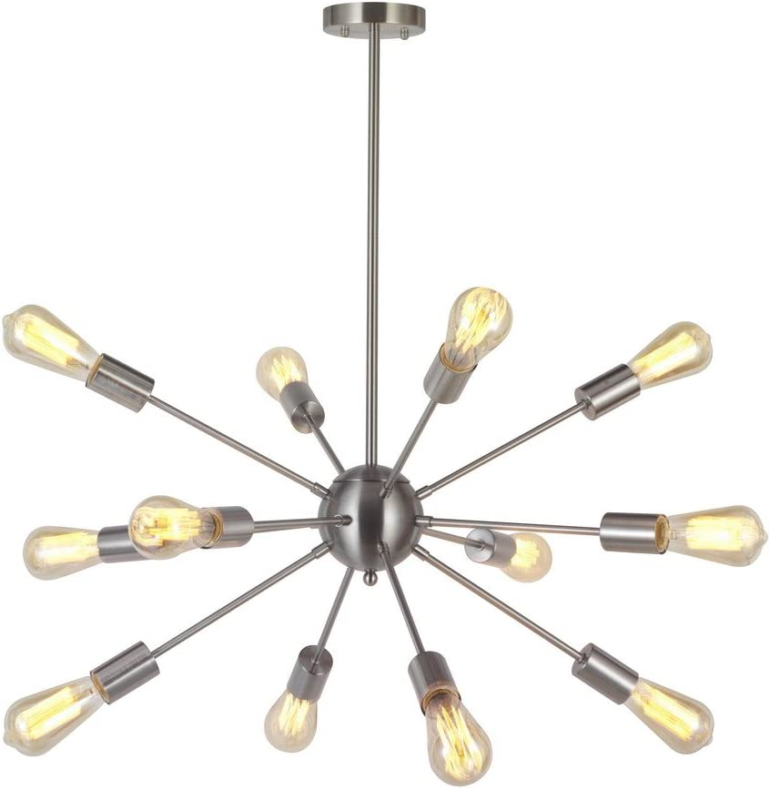 Modern Sputnik Chandelier Lighting 12 Lights Italian Designed Pendant Lighting Mid-Century Ceiling Light Fixture Brushed Nickel by TUDOLIGHT