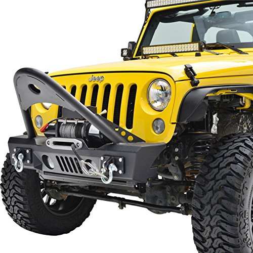E-Autogrilles 07-17 Jeep Wrangler JK Black Textured Stinger Front Bumper With OE Fog Lights Housing and Winch Plate (51-0366)