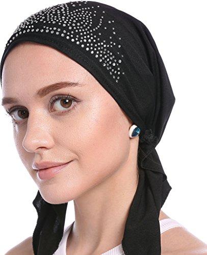 YI HENG MEI Women's Elegant Strench Drill Muslim Turban Hat Chemo Cancer Cap ()