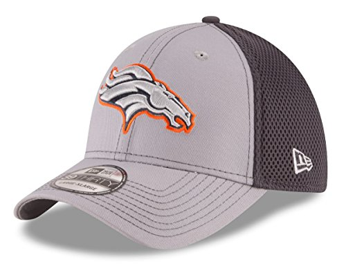 New Era NFL Denver Broncos Grayed Out NEO 2 39THIRTY Stretch Fit Cap, Medium/Large, Gray