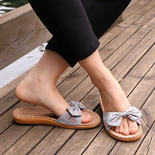 Gris Pliable Dame Pantoufles Clair Voyage Jetable Hôtel Chaussures Sandales Bowknot Pantoufles Sharplace Rvwq75q