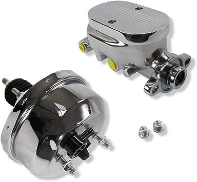 11 GM AC Delco Style Chrome Single Diaphragm Brake Booster and GM Chrome Aluminum Brake Master Cylinder