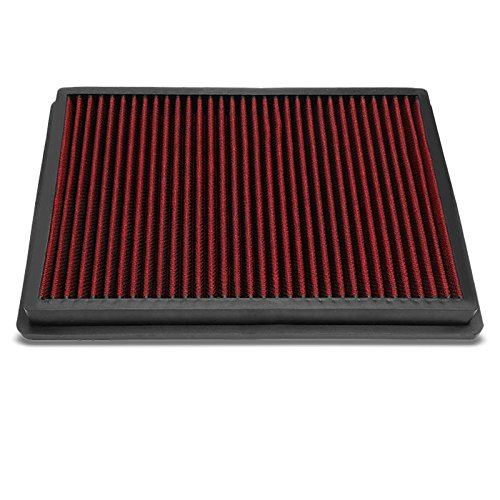 Red High Flow Performance Cotton Gauze Washable/Reusable OE Style Drop-In Panel Replacement Air Filter For 11-17 Dodge Challenger/Charger (Style Filter Dodge Charger)