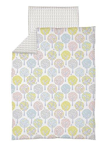 Babybettwäsche | Bettwäsche-Set 2-teilig | 100% Baumwolle | Bettdeckenbezug 100x135cm | Kopfkissenbezug 40x60 | Design: Magischer Wald rosa Ceba baby