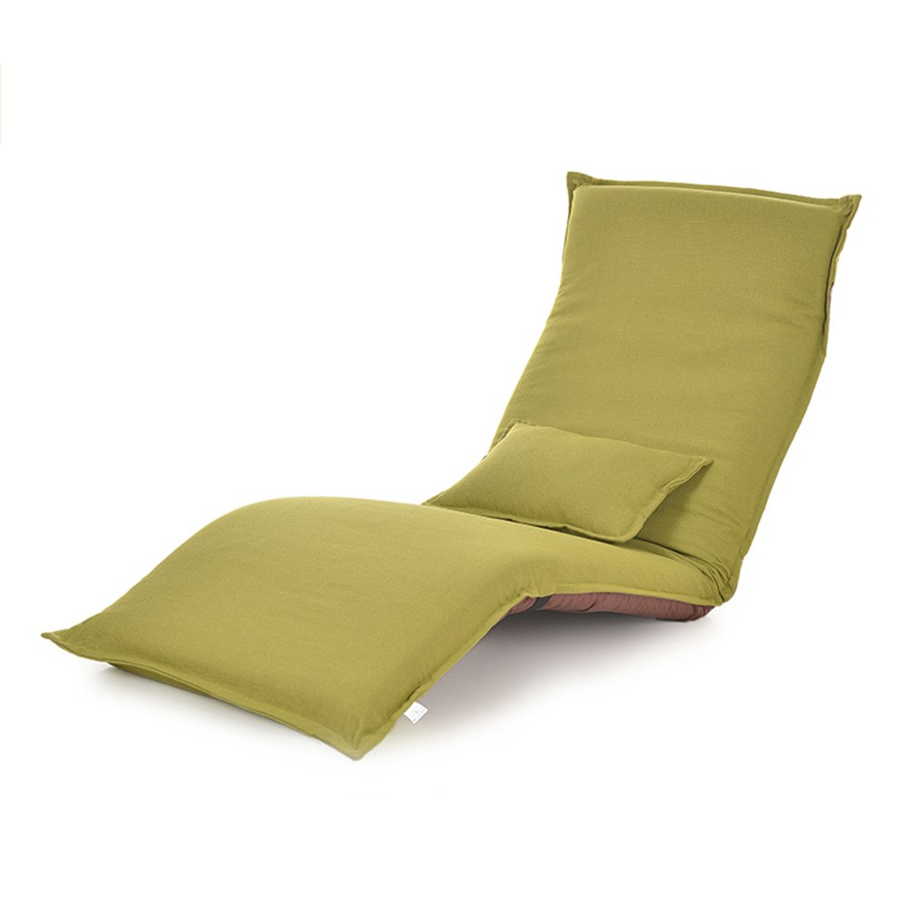 Solid color lazy sofa, three folding, floating window chairs, plus long paragraph deck chair / computer chair ( Color : Green )