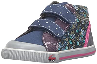 See Kai Run Girls' Kya Sneaker, Navy/Purple, 2 M US Little Kid