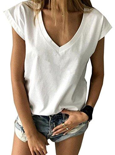 XTX Womens Sexy Casual Short Cap Sleeve Deep V-Neck Summer T-Shirt Tops White L ()