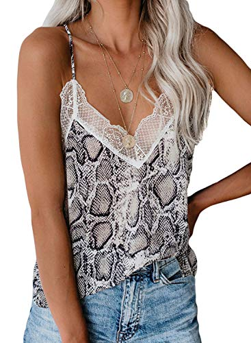 (Happy Sailed Womens Summer Sleeveless Flowy Lace Trim Tank Top V Neck Loose Casual Camisole XX-Large XX-Large Multicolor)