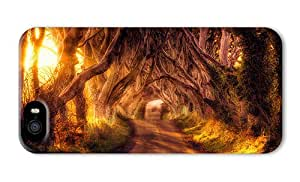 Do It Yourself DIY glitter iphone 5S cases Autumn forest trees walk path HDR landscape PC 3D for Apple iPhone 5/5S