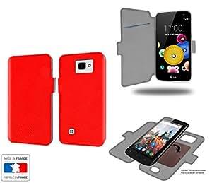 Caso de LG K4 Rouge Collection Serpentde almacenamiento innovadoras con tarjeta de la puerta interna - Estuche protector de LG K4 con fijación adhesiva reposicionable 3M