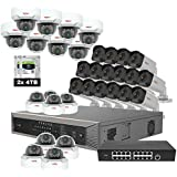 Revo America Ultra Plus Commerical Grade 32 Ch. 8TB HDD 4K NVR Video Security System, 16 x 4MP IP Bullet Cameras & 16 x 4MP IP Mini Dome Cameras- Remote Access via Smart Phone, Tablet, PC & MAC