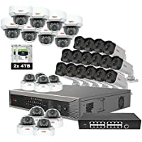 Revo America Ultra Plus Commercial Grade 32CH 4K H.265 NVR,  8 TB Surveillance Grade HDD, Remote Access, with 16x IR Bullet & 16x IR Mini Vandal Dome Cameras, 4 Megapixel,  Indoor/Outdoor, True WDR.