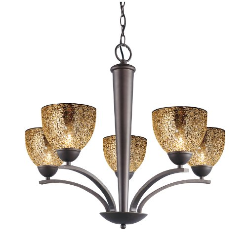 - Woodbridge Lighting 13015MEB-M21MIR North Bay 5-Light Chandelier, 26-1/-2-Inch by 23-1/2-Inch, Metallic Bronze