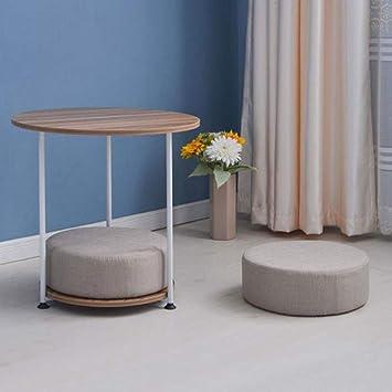 ACZZ Mesa auxiliar para sofá, mesa redonda de metal de 2 niveles ...