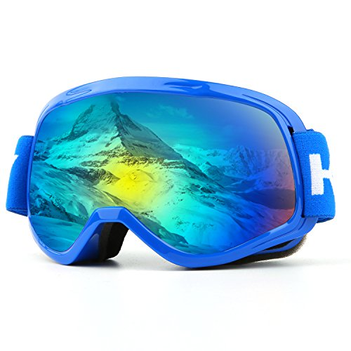 Ski Goggles, Over Glasses Snowboard Goggles for Boys & Girls, UV400 Protection and Anti-Fog, Double Spherical Lens Comfortable for Skating Skiing Snowmobiles - - Sports Glasses Junior
