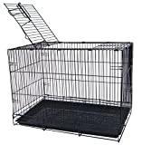YML 20-Inch Small Animal Crate with Wire Bottom Grate and Black Plastic Tray, Black