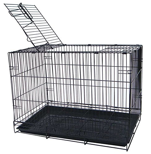 (YML 20-Inch Small Animal Crate with Wire Bottom Grate and Black Plastic Tray, Black)
