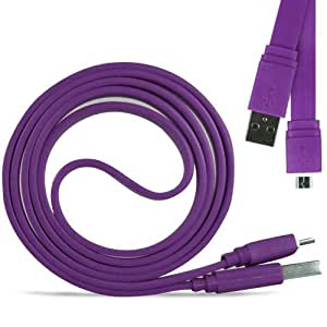 N4U Online - HTC Desire HD Superfast 1 metro Micro transferencia USB Data Sync cable de carga plana - Purple