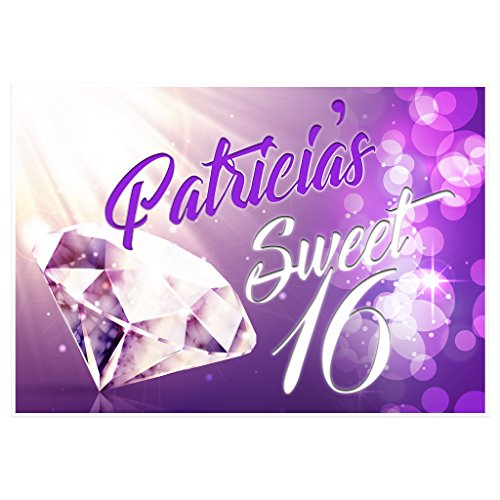 (Purple Glare Personalized Sweet Sixteen 16 Birthday Banner Party Decoration)