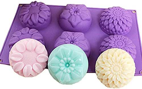 Maydolbone 6 Cavity Silicone Flower Soap Mold Chrysanthemum Sunflower Mixed Flower shapes Cupcake Backing mold Muffin pan Handmade soap silicone Moulds(Color is a random color)