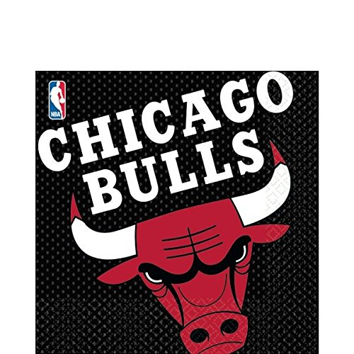 NBA Party Chicago Bulls Luncheon Napkins Tableware, 16 Pieces, Made from Paper, by Amscan