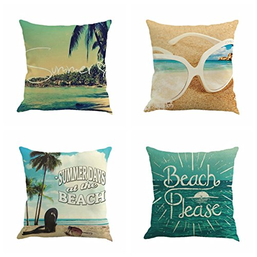 (Cotton Linen Sofa Home Decor Square Throw Pillow Case Endless Summer Beach with Palm Trees Flamingo Decorative Cushion Cover 18x18 (Beach with Palm Trees))