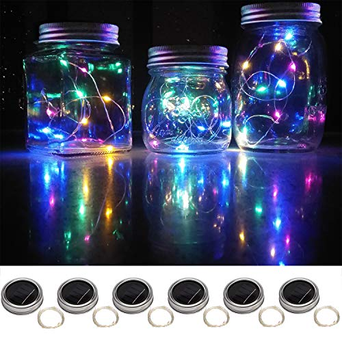 Sunlane 6 Pack Solar Mason Jar Lights, 20 Led String Fairy Firefly Lights Lids Insert for Regular Mouth Jars, Mason Jar,Patio,Lawn,Garden Decor