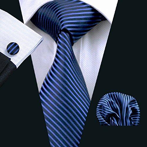Striped Pocket Woven Square Silk Set Cufflinks Blue CAOFENVOO Black Tie Men's ZTq6B6