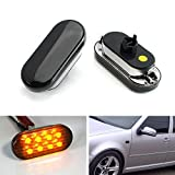 iJDMTOY Euro Style Smoked Lens Amber 8-LED Side Marker Lights Direct Fit For 1999-2004 Volkswagen MK4 Golf Jetta Bora, 1998-2004 B5/B5.5 Passat, 1999-2003 GTI R32, or 1998-2003 Beetle