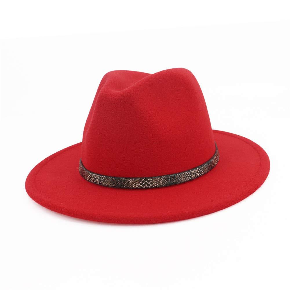 BaZhuaYu Men & Women's Wide Brim Fedora Hat with Band Unisex Felt Panama Cap Red M (Head Circumference 22''-22.8'')