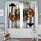 Anhounine King,Blackout Curtain,King of Clubs Playing Gambling Poker Card Game Leisure Theme Without Frame Artwork,Blackout Draperies for Bedroom,Multicolor,W84 x L108 inch