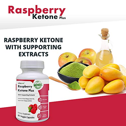 Raspberry Ketone Plus | with Supporting Extracts. Includes African Mango, Green Tea, Apple Cider Vinegar and More. 60 Capsules