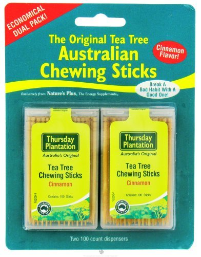 Australian Chewing Sticks (Tea Tree Chewing Sticks Dual Pack - Cinnamon Thursday Plantation 100 + 100 Toothpick by Nature's Plus)