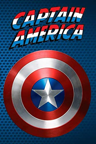 Book cover from Captain America: blue notebook, 100 lined pages, 6x9 by MovieNotebooks