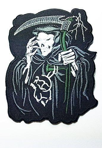 Grim Reaper Skull Ghost Sand Clock Timer of Dead Biker Rider Hippie Punk Rock Heavy Metal Tattoo Biker Punk Rock Logo Motorcycle Jacket Vest Biker Patch Approx: 8.8x10 Cm