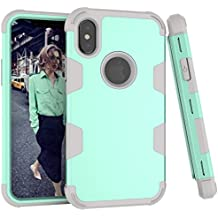 """iPhone X Case,GPROVA Hard PC & Soft Silicone Rugged Bumper Shockproof Skid-proof Anti-Scratch All Around Protective Case for Apple iPhone X/10 5.8"""" (Mint green)"""