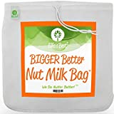 "Pro Quality Nut Milk Bag - XL12""X12"" Bags - Commercial Grade Reusable All Purpose Food Strainer - Food Grade BPA-Free - Ultra Strong Fine Nylon Mesh - Nutmilk, Juices, Cold Brew - Recipes & Videos"