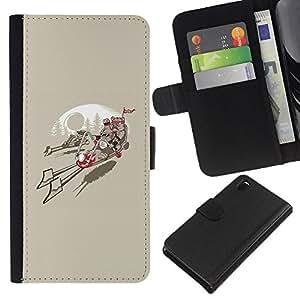 EJOY---Tirón de la caja Cartera de cuero con ranuras para tarjetas / Sony Xperia Z3 D6603 / --Ewok Biker Gang