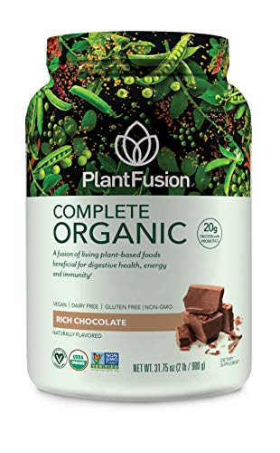 PlantFusion Complete Organic Plant Based Protein Fermented Foods Powder, USDA Organic, Vegan, Gluten Free, Packing May Vary, Chocolate, 2 LB