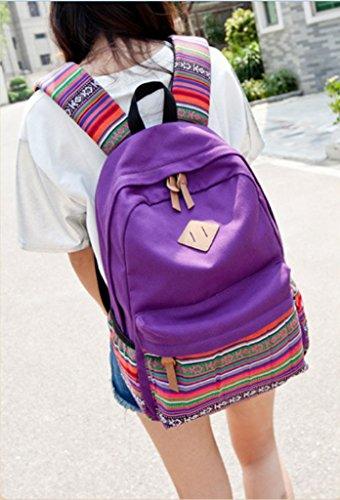 Weyeei Mochila Mujer Bolso Estilo Étnico Lona Tipo Casual Grande Mochilas Púrpura