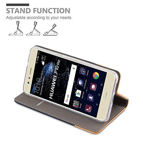 Cadorabo - Funda Estilo Book para >                                      Huawei P10 LITE                                      < de Diseño Tela / Cuero Arificial con Tarjetero, Función de Soporte y Cierre Magnético Invisible