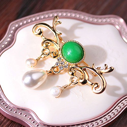 (Mystery ornaments) Alexandrite drop pearl brooch vintage European-style antique diamond collar pin Fan children