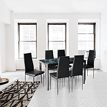 Amazon.com - 7-Piece Dining Table And Chair Set For 6 with Faux ...