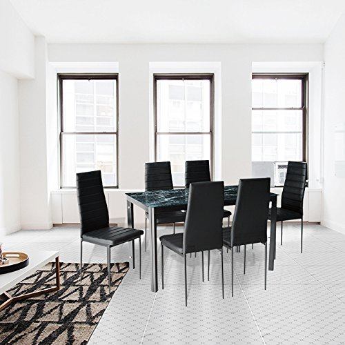 7-Piece Dining Table And Chair Set For 6 with Faux Marble Look Glass Table Top Metal Leg & Frame Kitchen Furniture Set