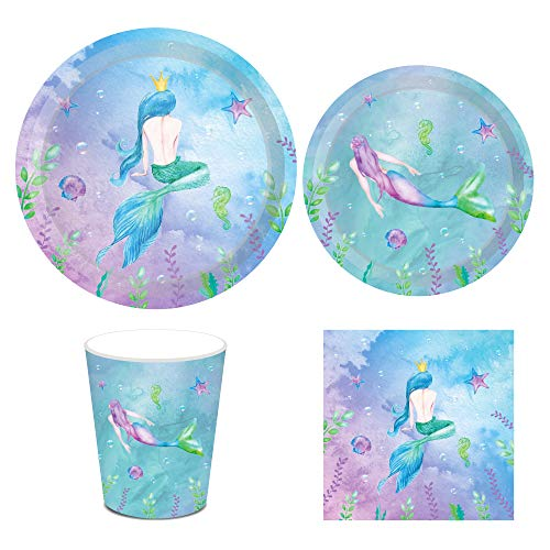 Mermaid Party Supplies,Serves 8-Includes Mermaid Dinner Plates, Mermaid Dessert Plates, Cups and Napkins Perfect for Mermaid Theme Party,1st Birthday,Baby Shower,Picnic,Thanksgiving,Christmas,Home Parties,Wedding,Celebration and Festivals(44PCS)]()