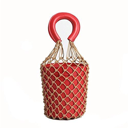 Vintage Viaggio Della Rosso Degli Rete Donna Spalla Secchiello U Cosmetica Piccola Borsa Tracolla A Da Mano Di qwpxOTY