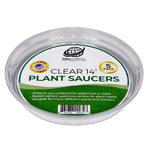 YOUniversal Products Clear Plant Saucers - 5 Pack of 14 Inch - Excellent for Indoor & Outdoor Plants