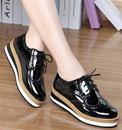 reputable site 31c46 0b56f ... Chaussures Oxford Pour Femmes, Satuki Plate-forme Décontractée Lacets  Talons Chaussures Robe Noire-