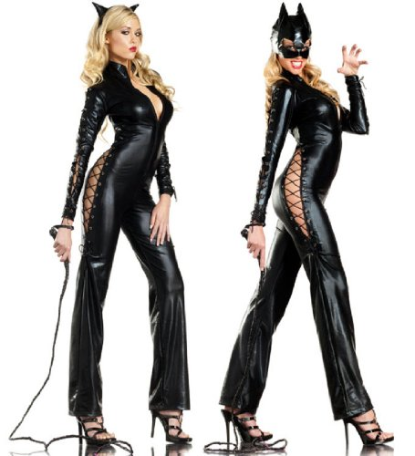 [Be Wicked Two-Faced Catwoman Costume, Black, Medium/Large] (Two Faced Halloween Costumes)