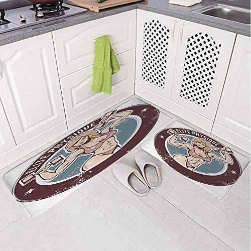 2 Piece Non-Slip Kitchen Mat Rug Set Doormat 3D Print,Dumbbells Elite Physique Grunge Display,Bedroom Living Room Coffee Table Household Skin Care Carpet Window Mat,